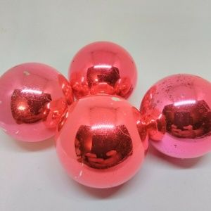 Shiny Brite Vintage Christmas Ornaments Pink/ Red